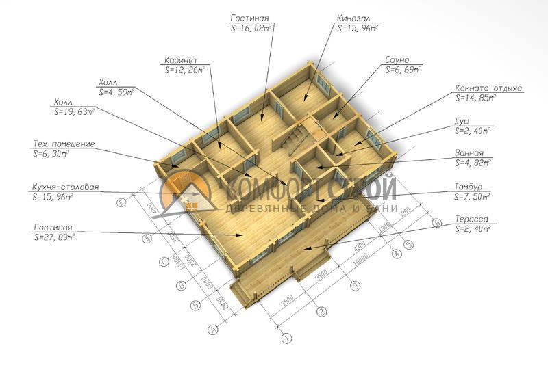 Дом 380 м2 15х17 построенный по проекту КОМФОРТНЫЙ план