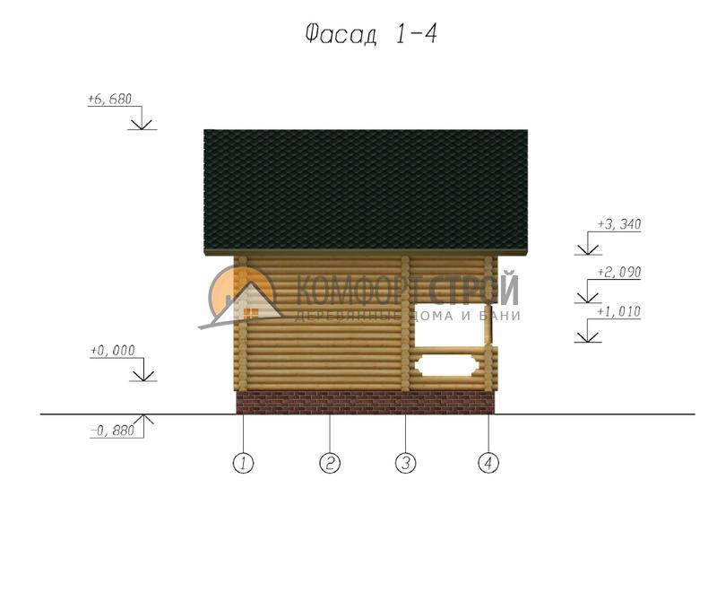 Дом-баня 60.51 м2 5.5х6.3 по проекту СКАЗКА  фасад