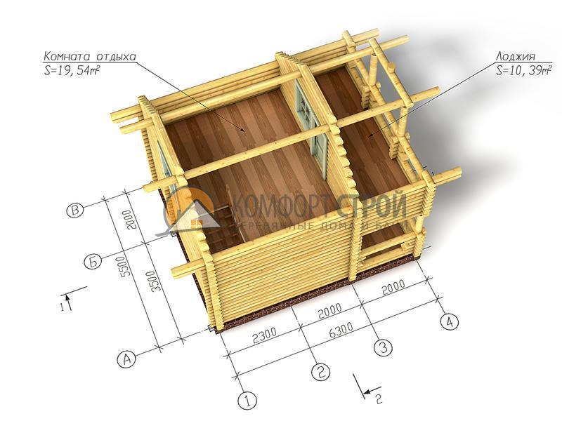 Дом-баня 60.51 м2 5.5х6.3 по проекту СКАЗКА  план