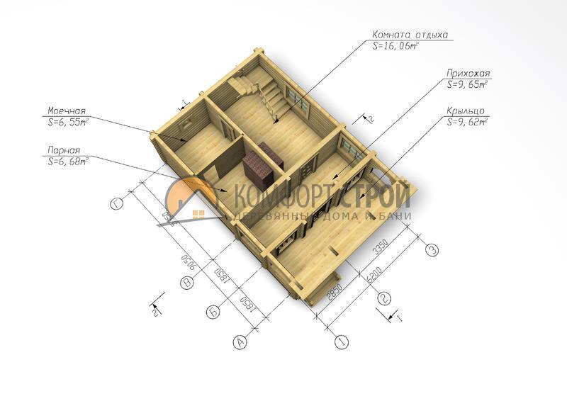 Дом-баня 90.11 м2 6.2х9.05 по проекту УЮТНАЯ  план