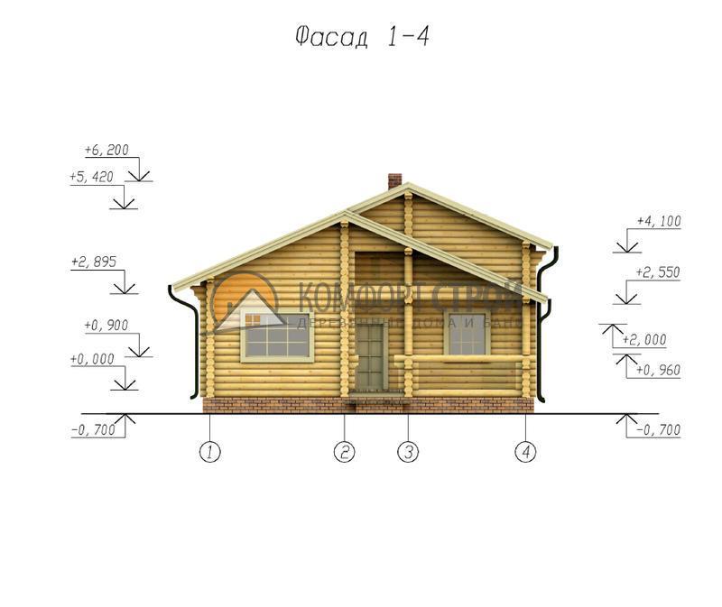 Дом-баня 91.55 м2 6.5х9.4 по проекту ОПУШКА  фасад
