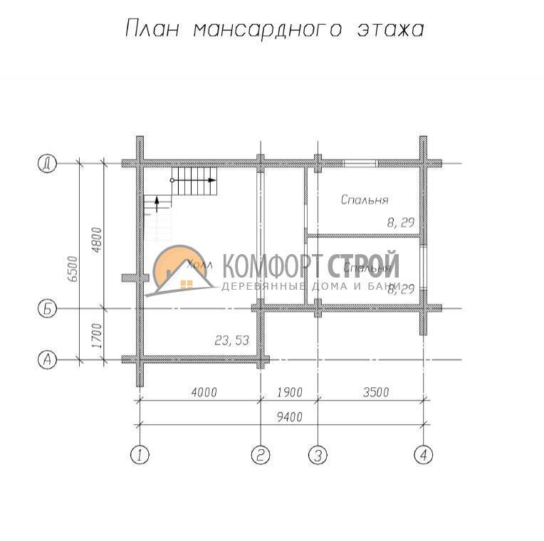 Дом-баня 91.55 м2 6.5х9.4 по проекту ОПУШКА  план