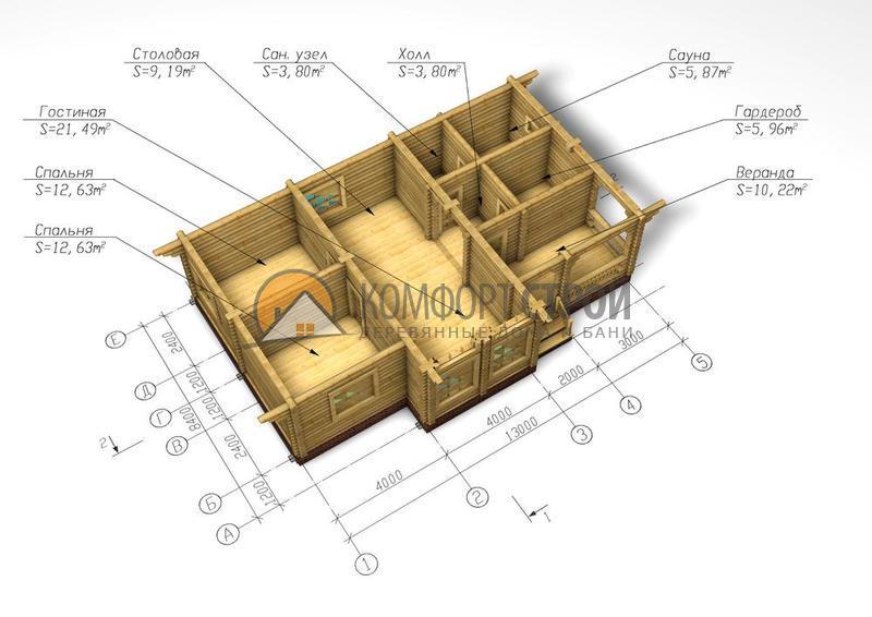 Дом-баня 110 кв.м 10х12 по проекту ВОРОНЕЖ план
