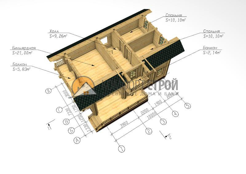 Дом-баня 113.65 м2 7.33х10 по проекту СИМФЕРОПОЛЬ план