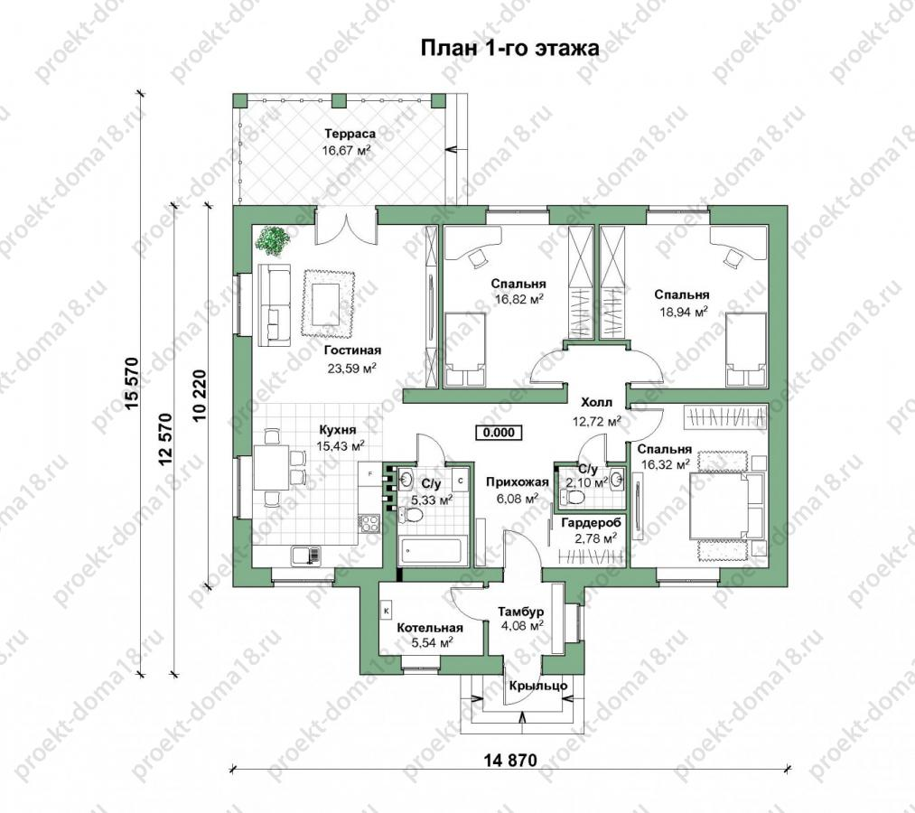 ПРоект одноэтажного дома Б-05-16/а план