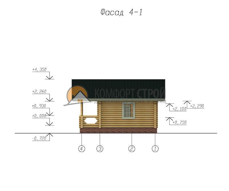 Баня 32.41 м2 5.5х6.9 по проекту ВЕСНА фасад