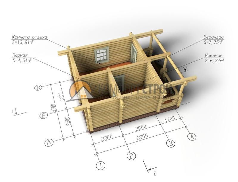 Баня 32.41 м2 5.5х6.9 по проекту ВЕСНА план
