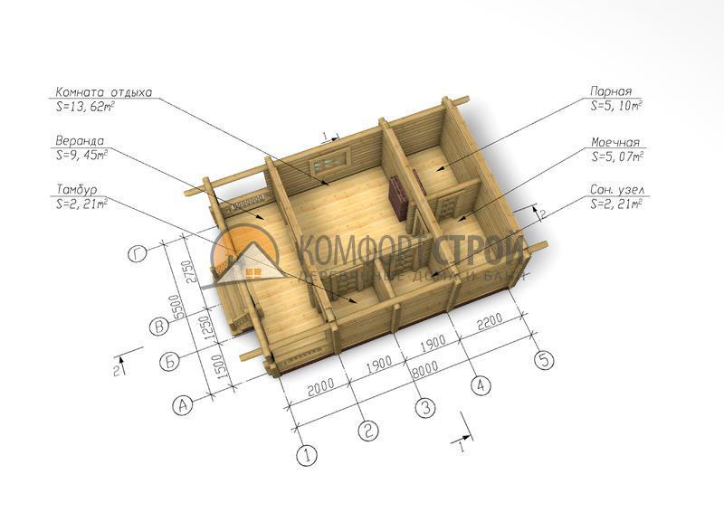 Баня 37.66 м2 5.5х8 по проекту РЕГИНА план