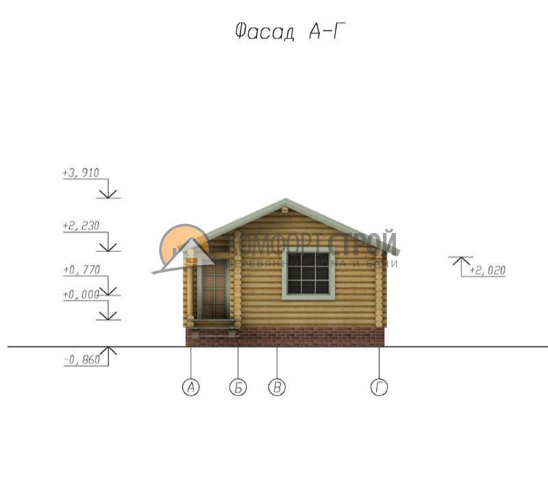 Баня 38.57 м2 6х7.5 по проекту СОСНА фасад