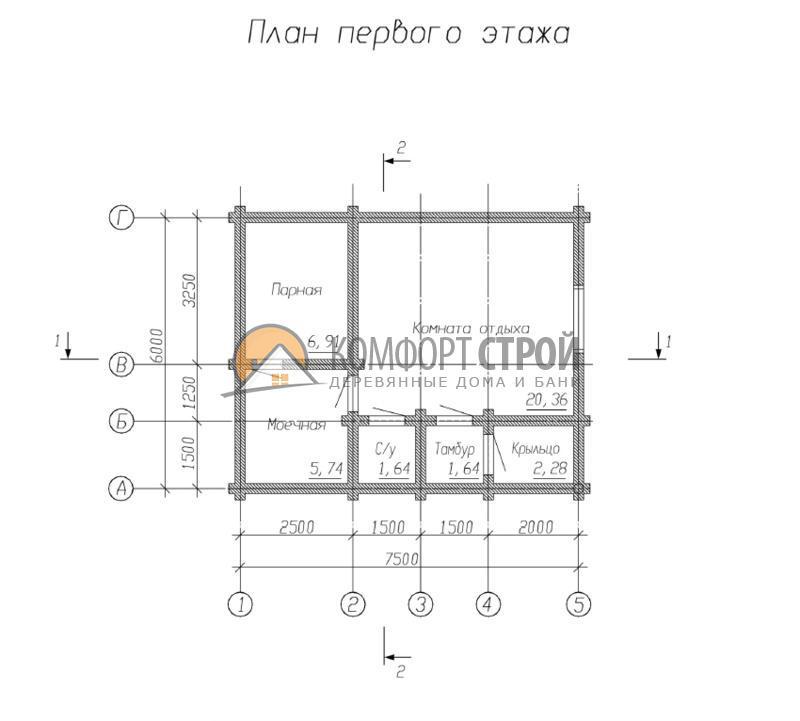 Баня 38.57 м2 6х7.5 по проекту СОСНА план