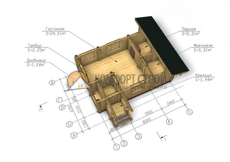 Баня 39.4 м2 6.7х8.3 по проекту СЕВЕРНАЯ план