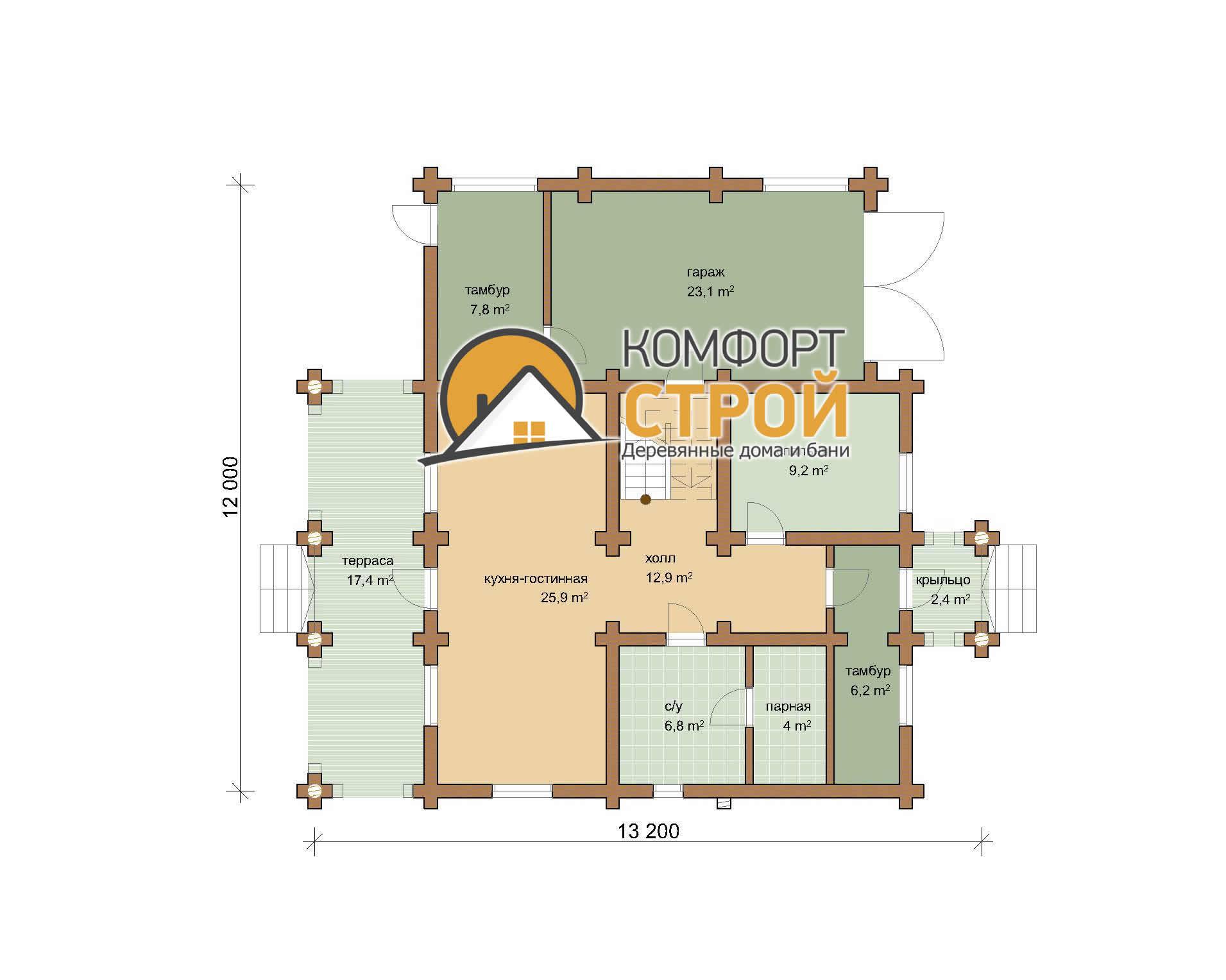 Проект дома с гаражом 194 м2  12х13.2 БОРОДИНО план