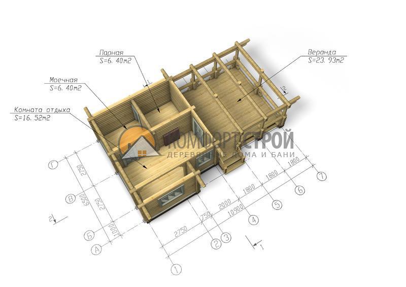 Баня 53.32 м2 6.5х10.9 по проекту КАДУЙ план