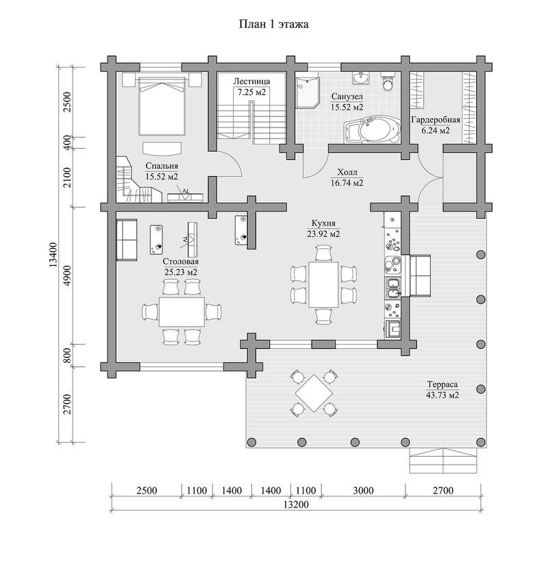 Дом 264.9 м2 13.2х13.4 по проекту КУДРИН план