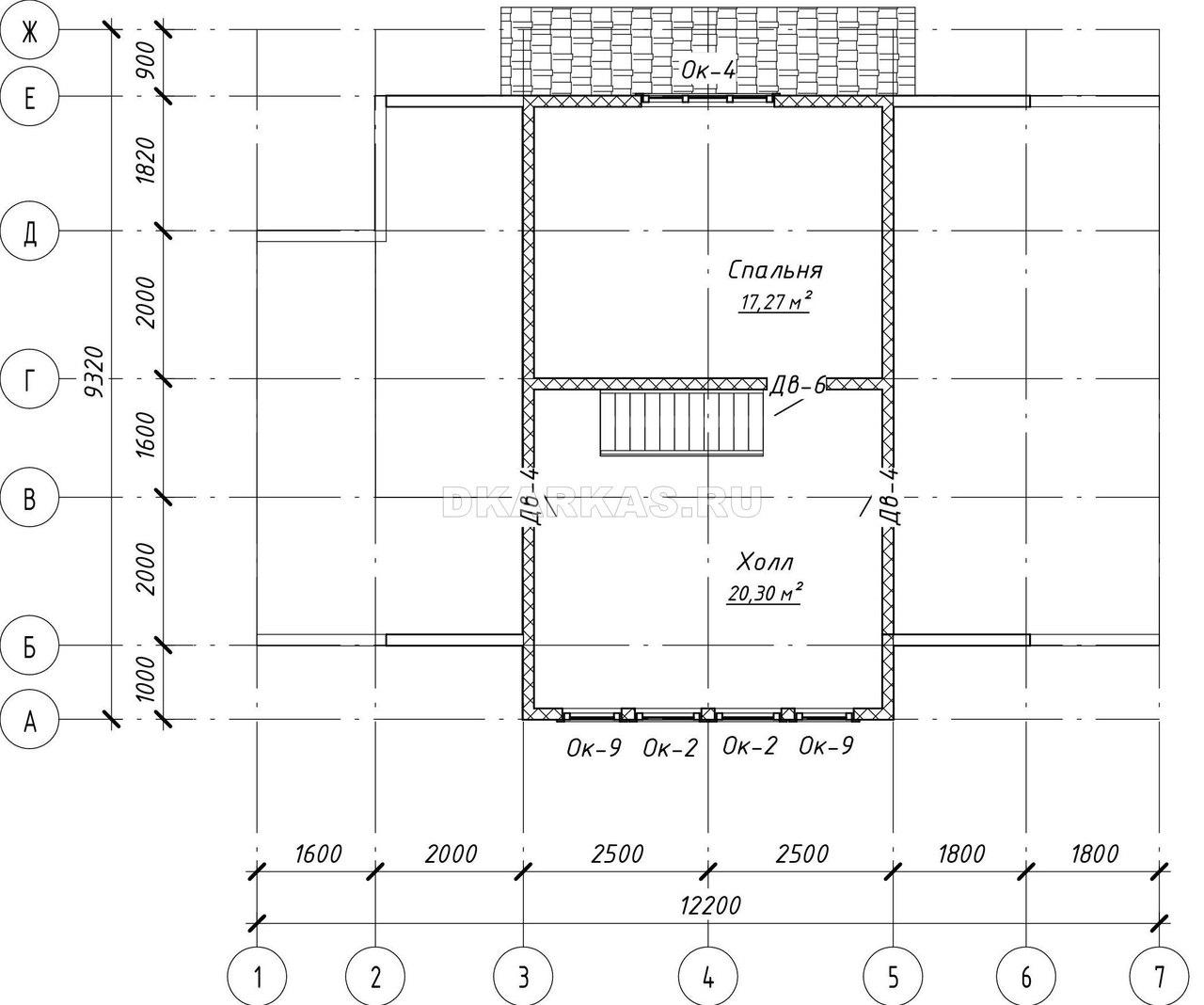 Силовой каркас дома КД-20 план