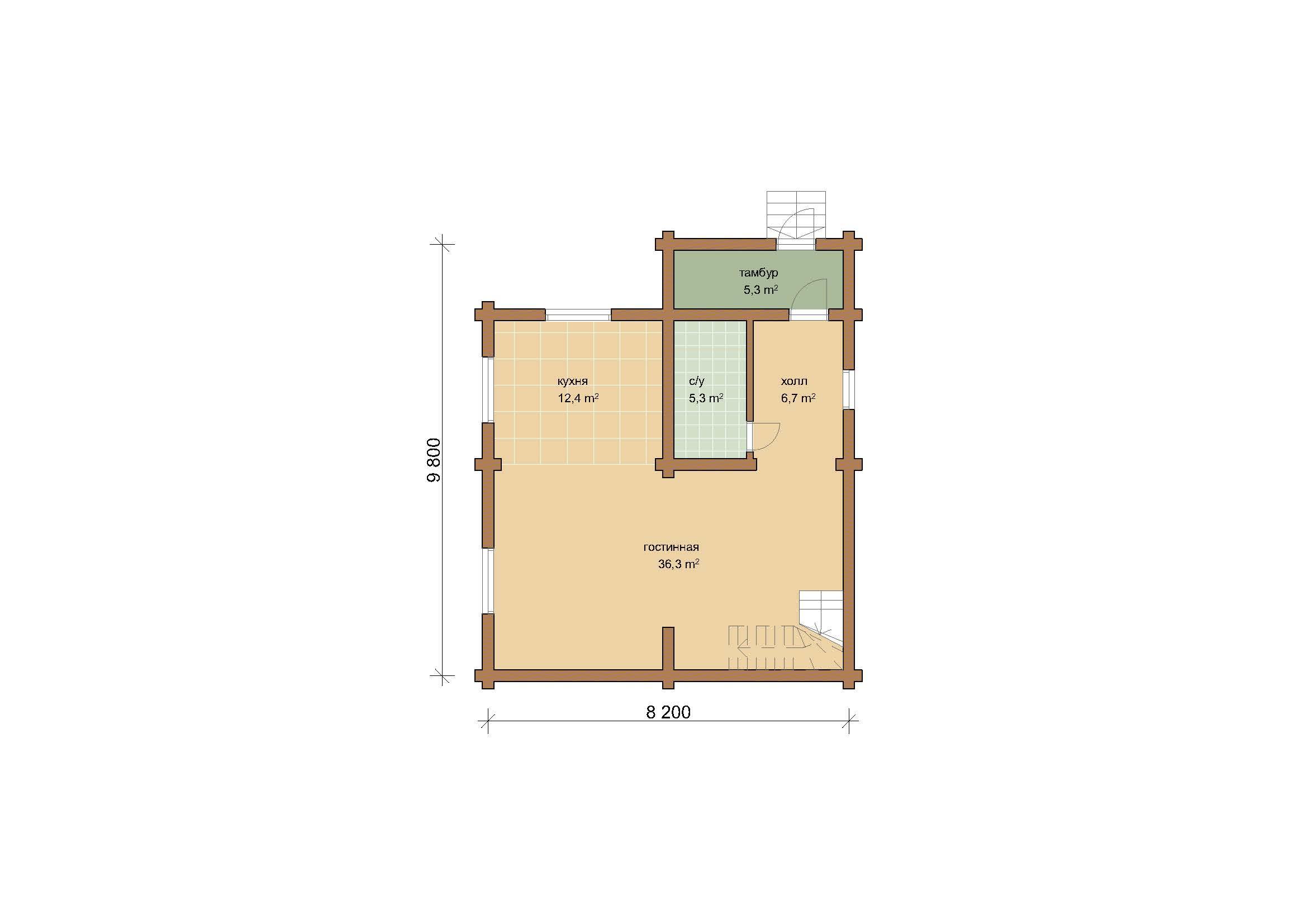 Дом 116.11 м2 8.2х9.8 по проекту АПРЕЛЕВКА  план