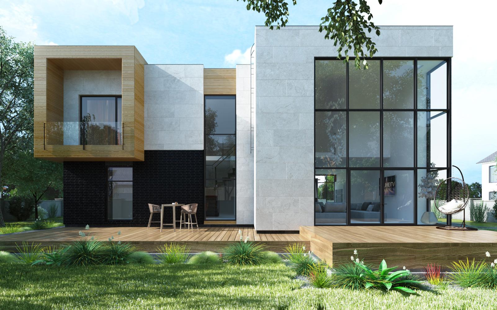 Современный дом с комфортом фасад