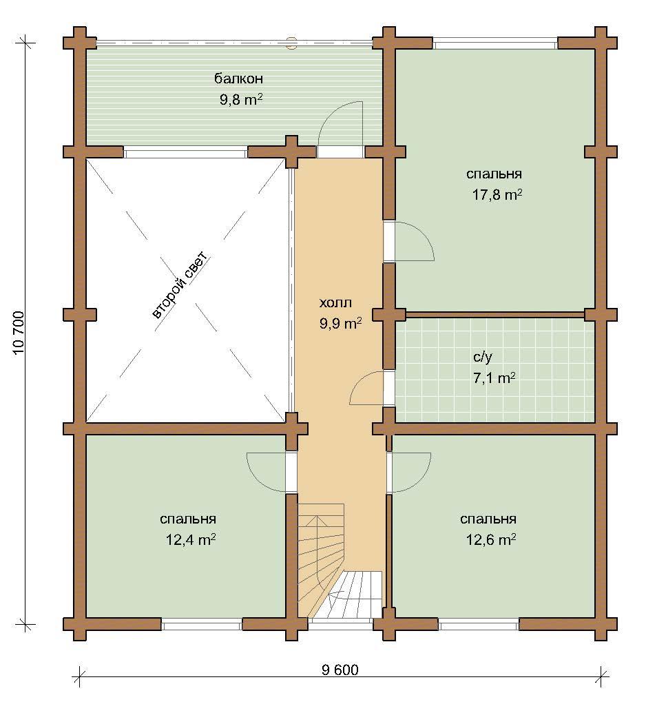 Дом 163.8 м2 10.7х11 по проекту КЛИМОВСК план