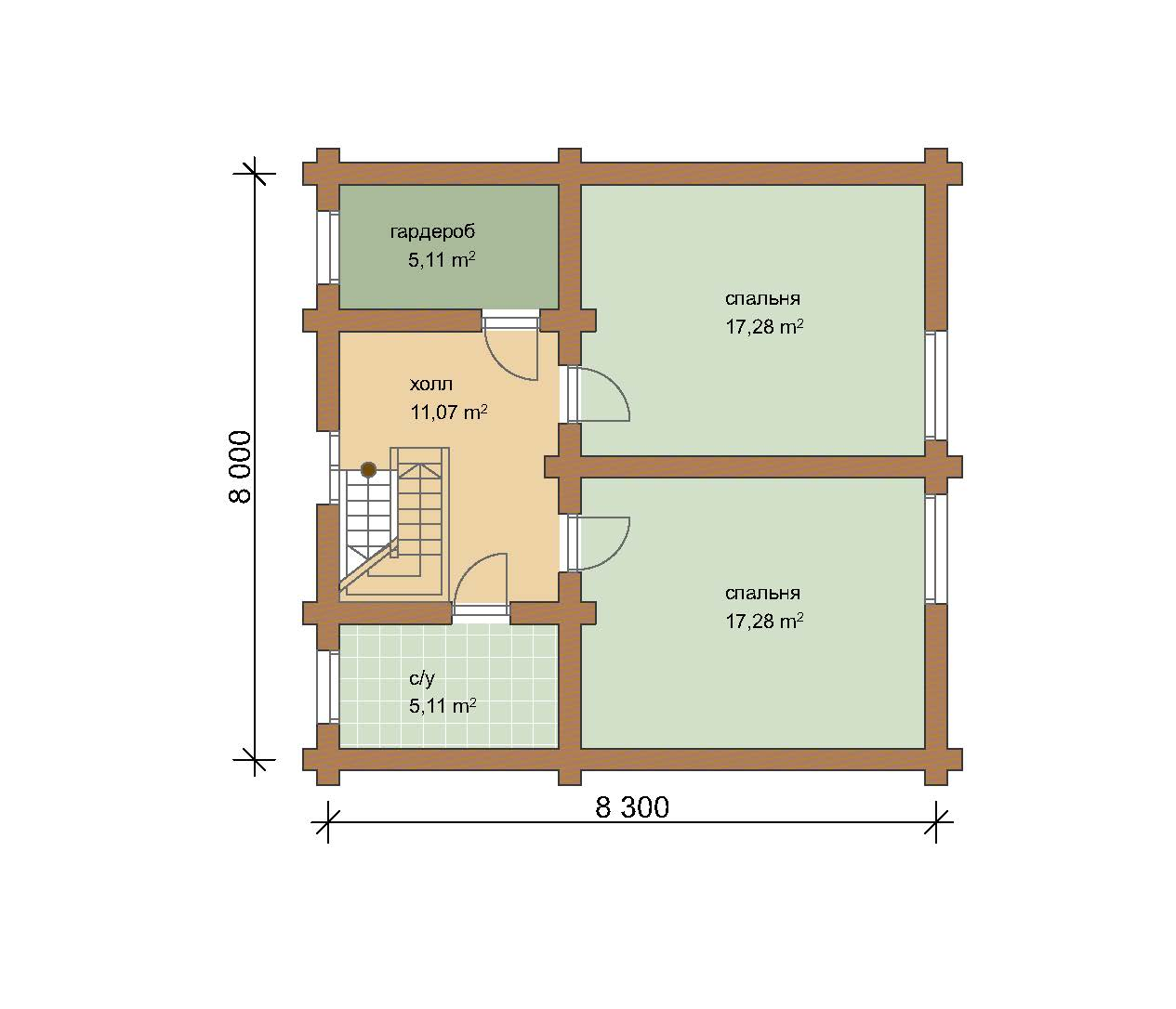 Дом 155.95 м2 10.5х15.3 по проекту АЗАТСКИЙ план