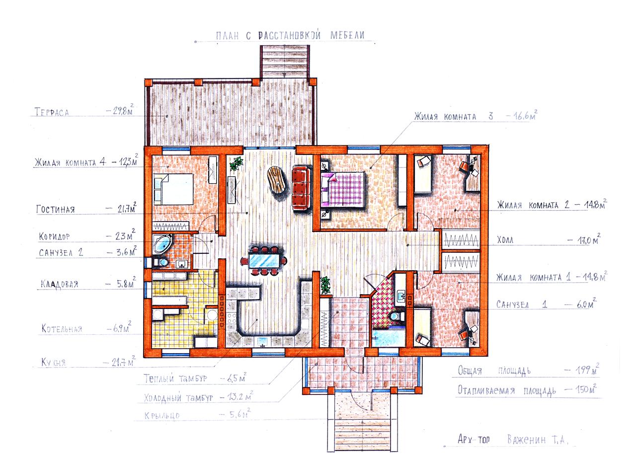 "Проект ""Иж-335""  Проект одноэтажного дома план"
