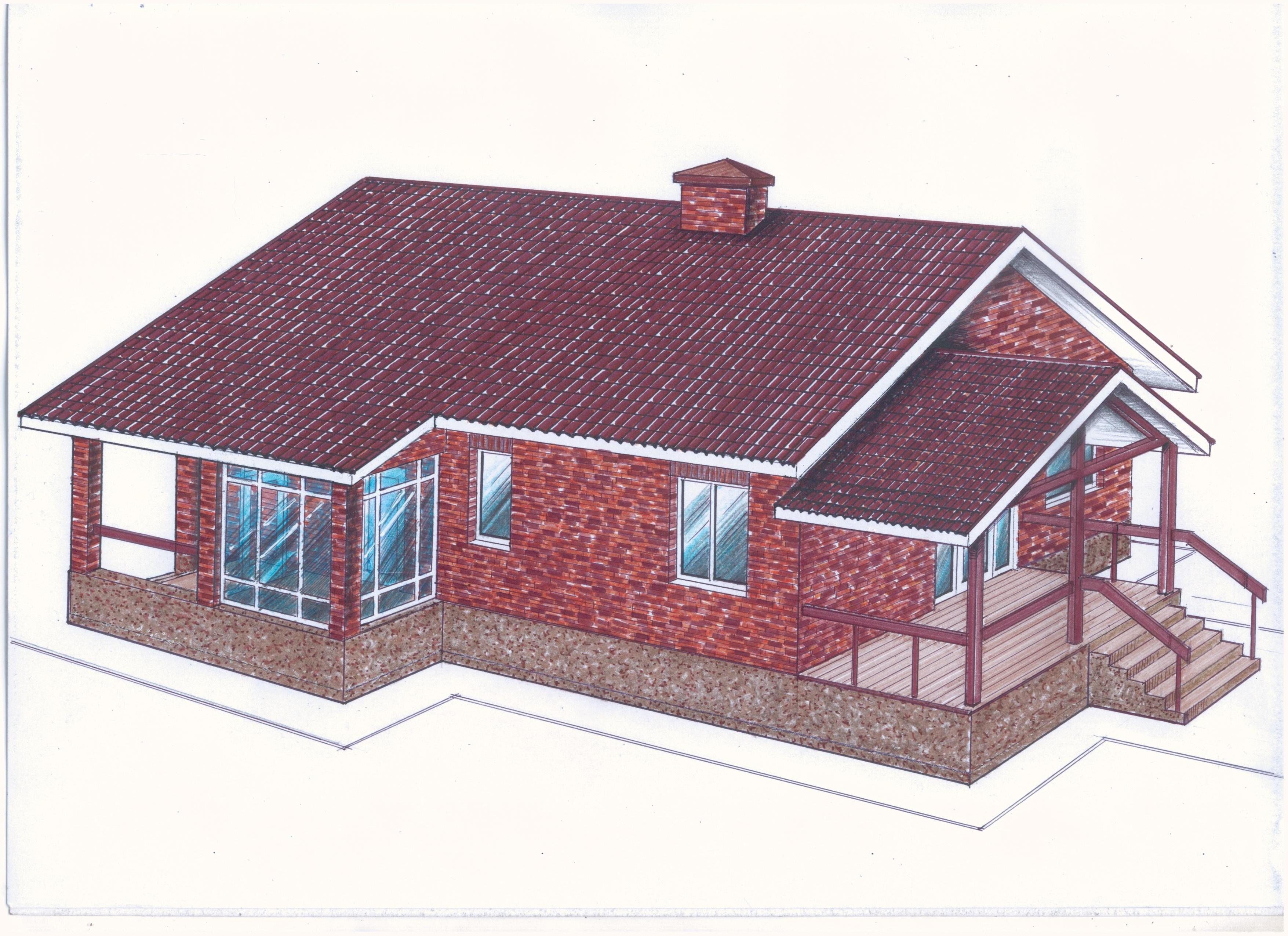 Проект одноэтажного дома Общая площадь: 139,0 м2  фасад