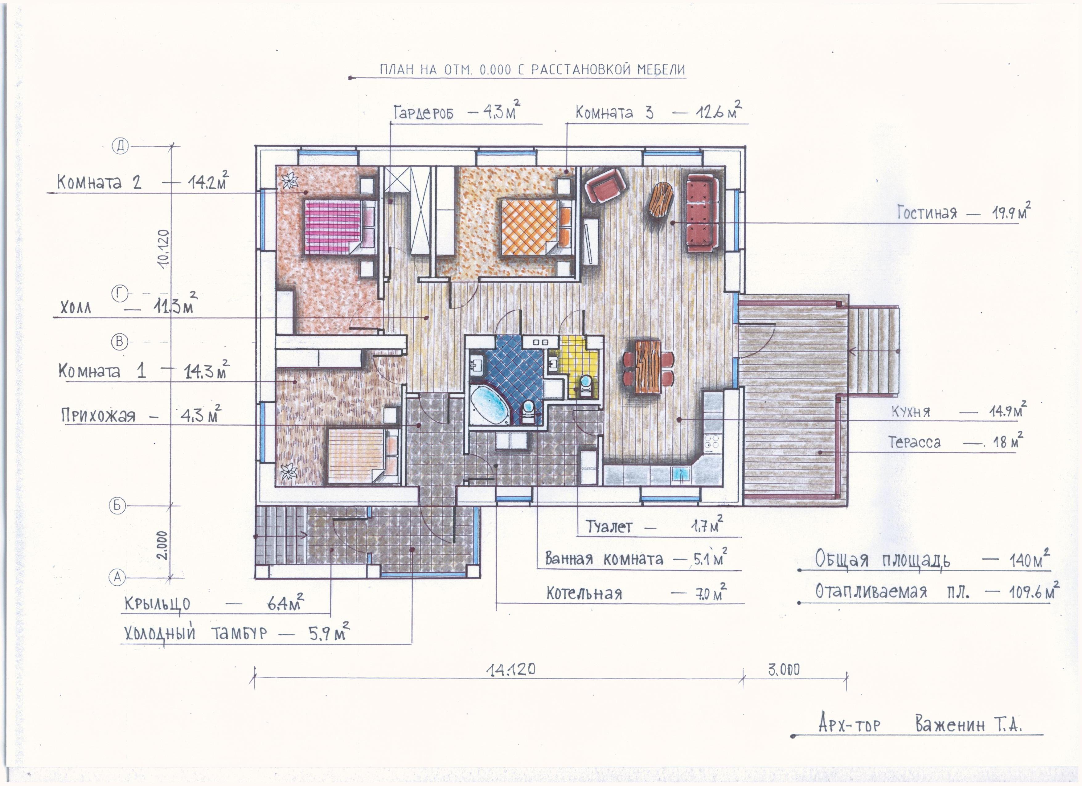 Проект одноэтажного дома Общая площадь: 139,0 м2  план
