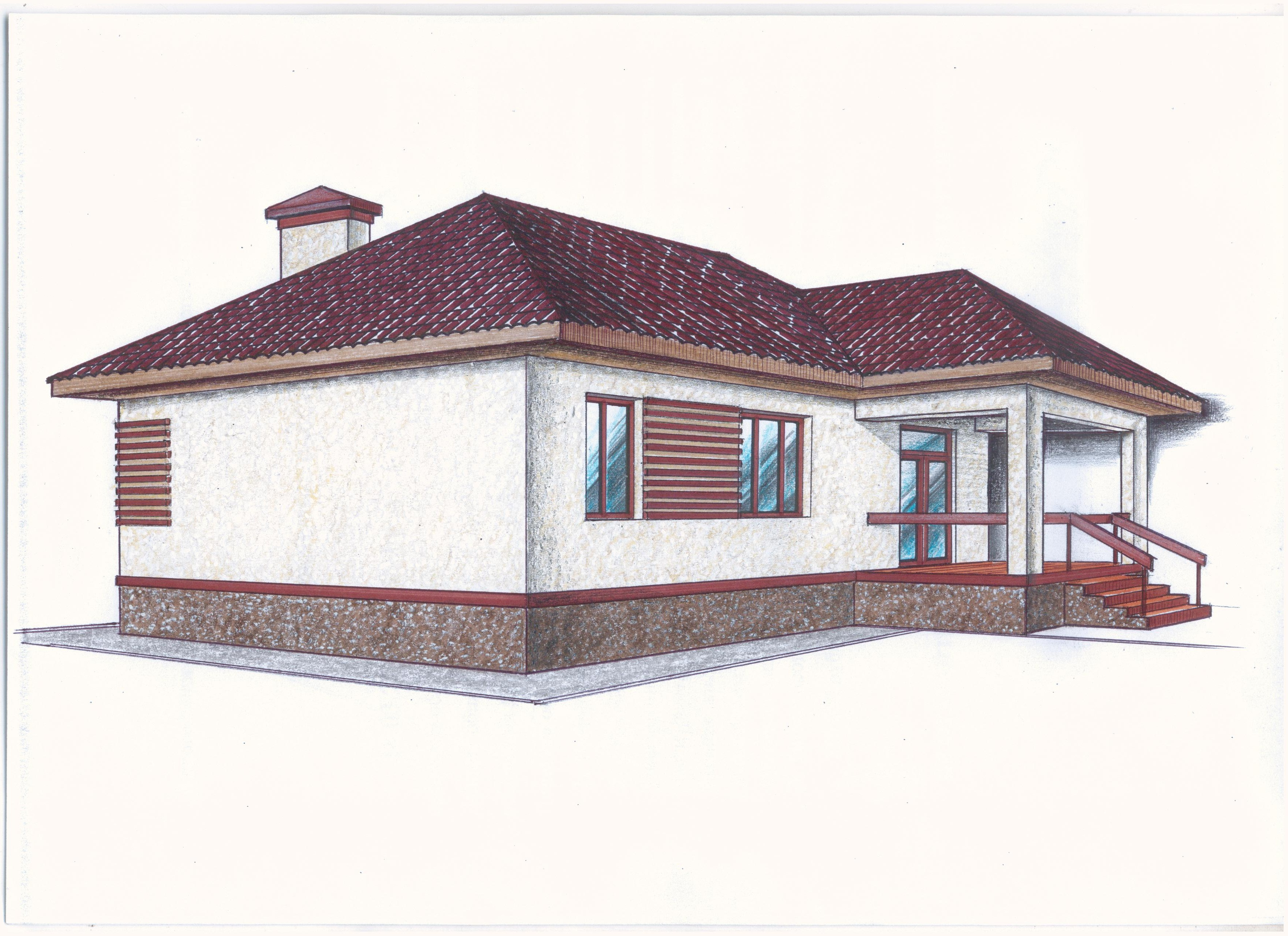 "Проект ""Иж-337""  Проект одноэтажного дома фасад"