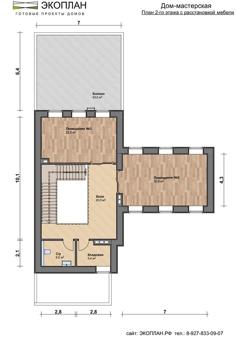 Дом-мастерская с стиле лофт план