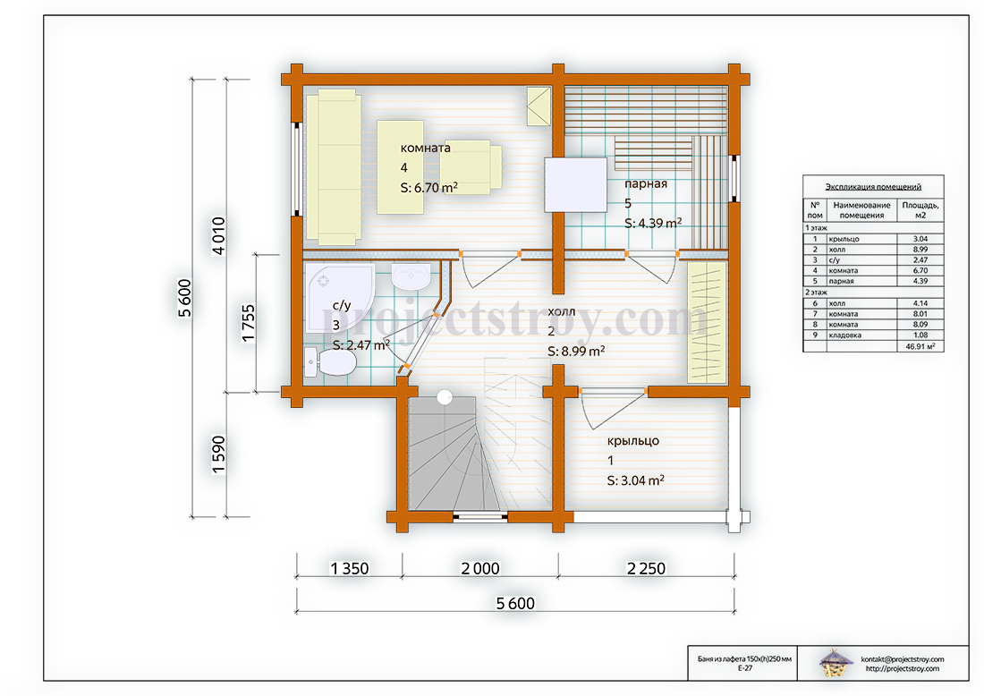 Баня 5.6 х 5.6 м с двумя комнатами на втором этаже план