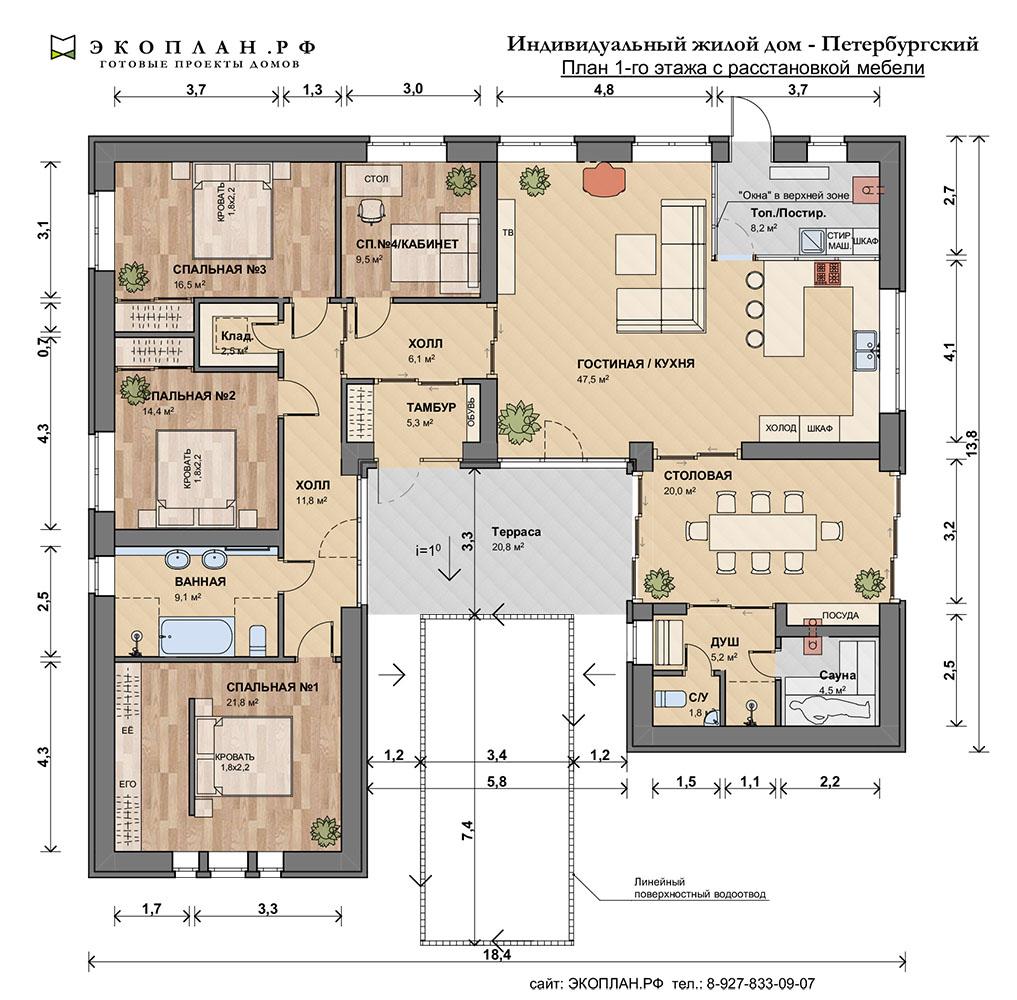 Петербургский.  П- образый готовый проект дома. план