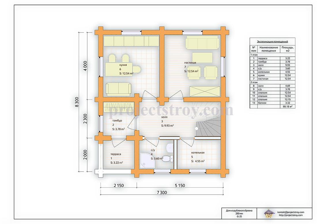 Деревянный дом до 100 кв. м план