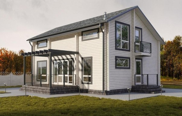 Дом из профилированного бруса камерной сушки  фасад