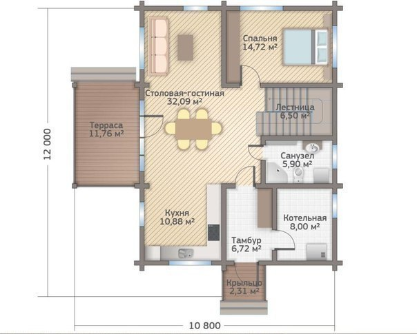 Дом из профилированного бруса камерной сушки  план