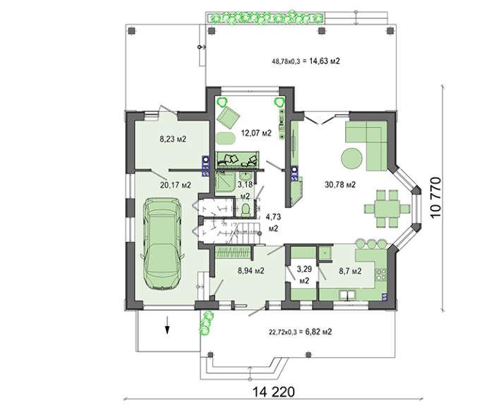 Проект дома 4m543 план