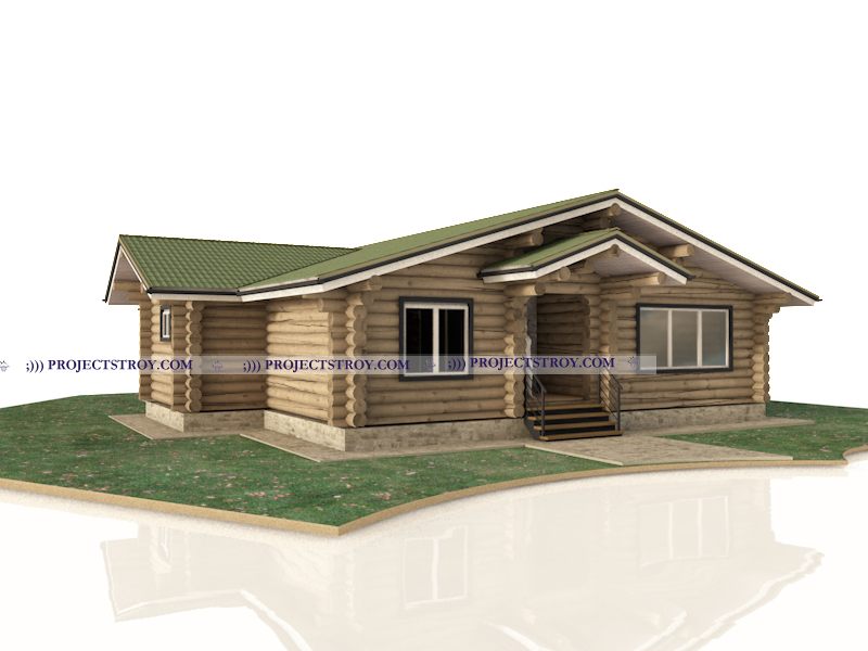 Деревянный одноэтажный дом 15 х 13 м фасад
