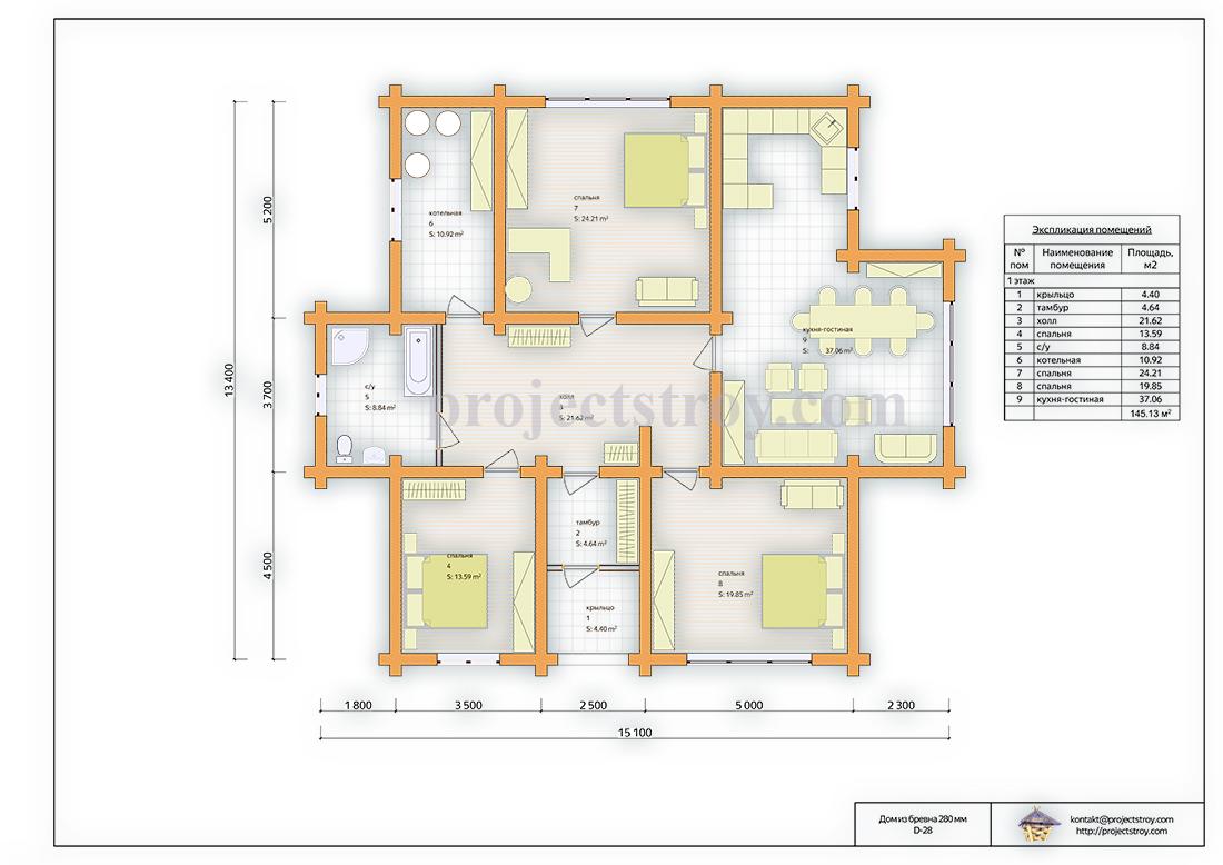 Деревянный одноэтажный дом 15 х 13 м план