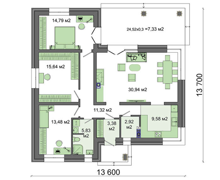 Проект дома 4m557 план