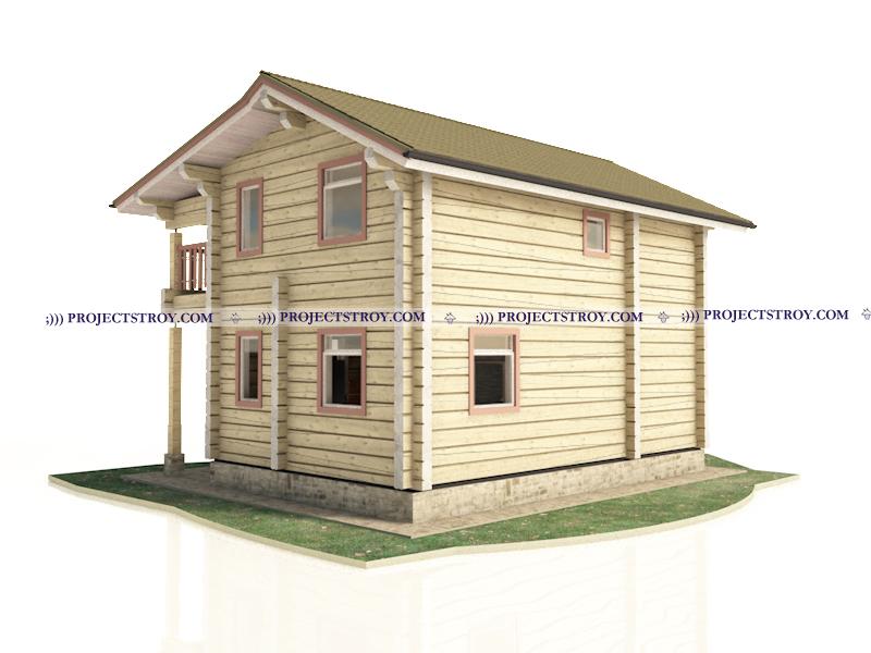 Деревянный дом из лафета 7.2 x 8.2 м фасад