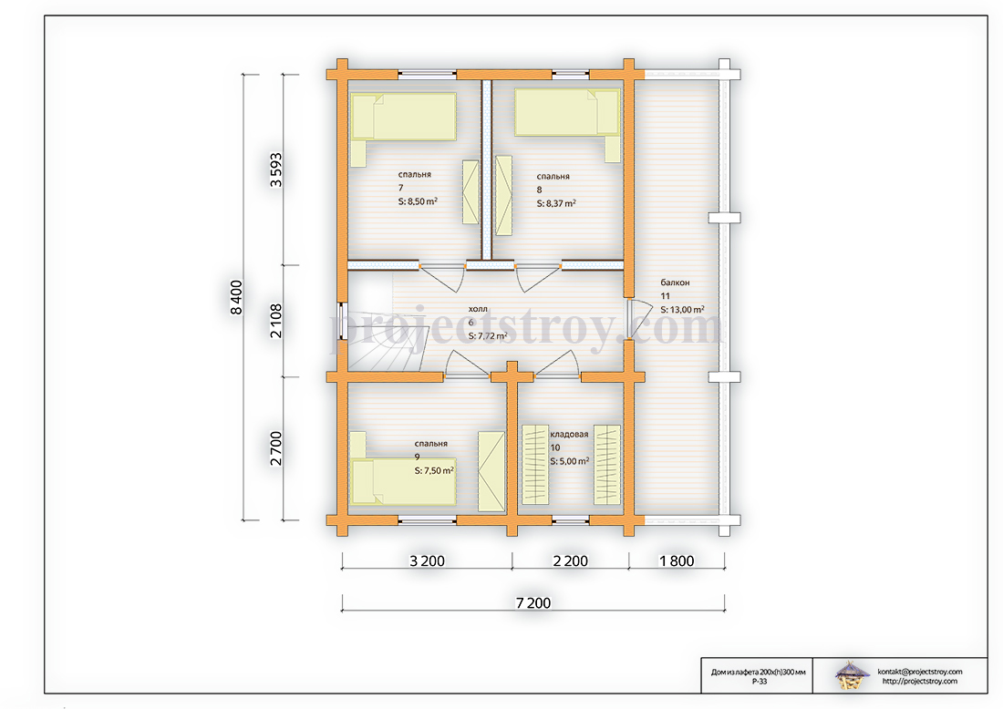 Деревянный дом из лафета 7.2 x 8.2 м план
