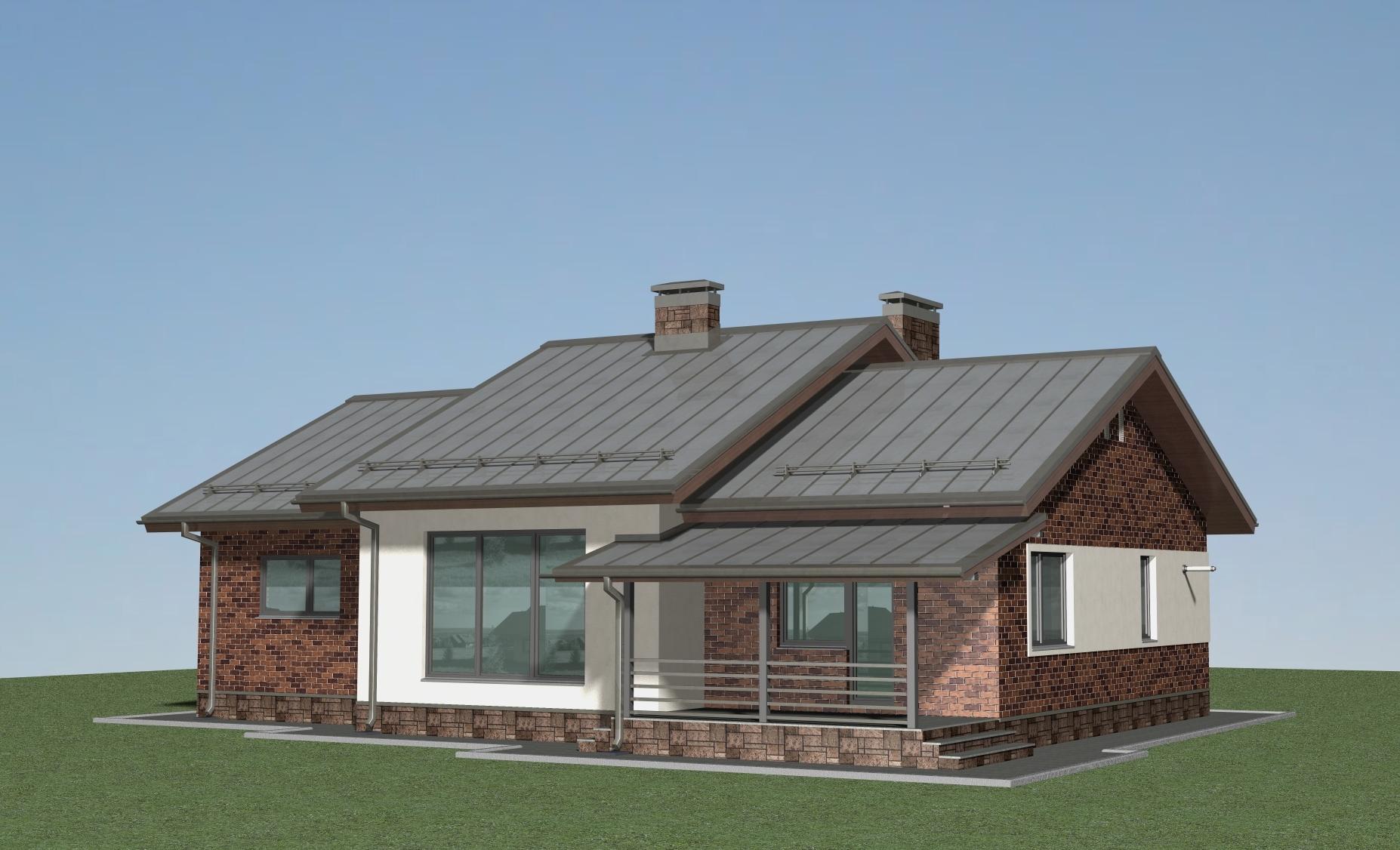 Проект одноэтажного дома А-07-20 фасад