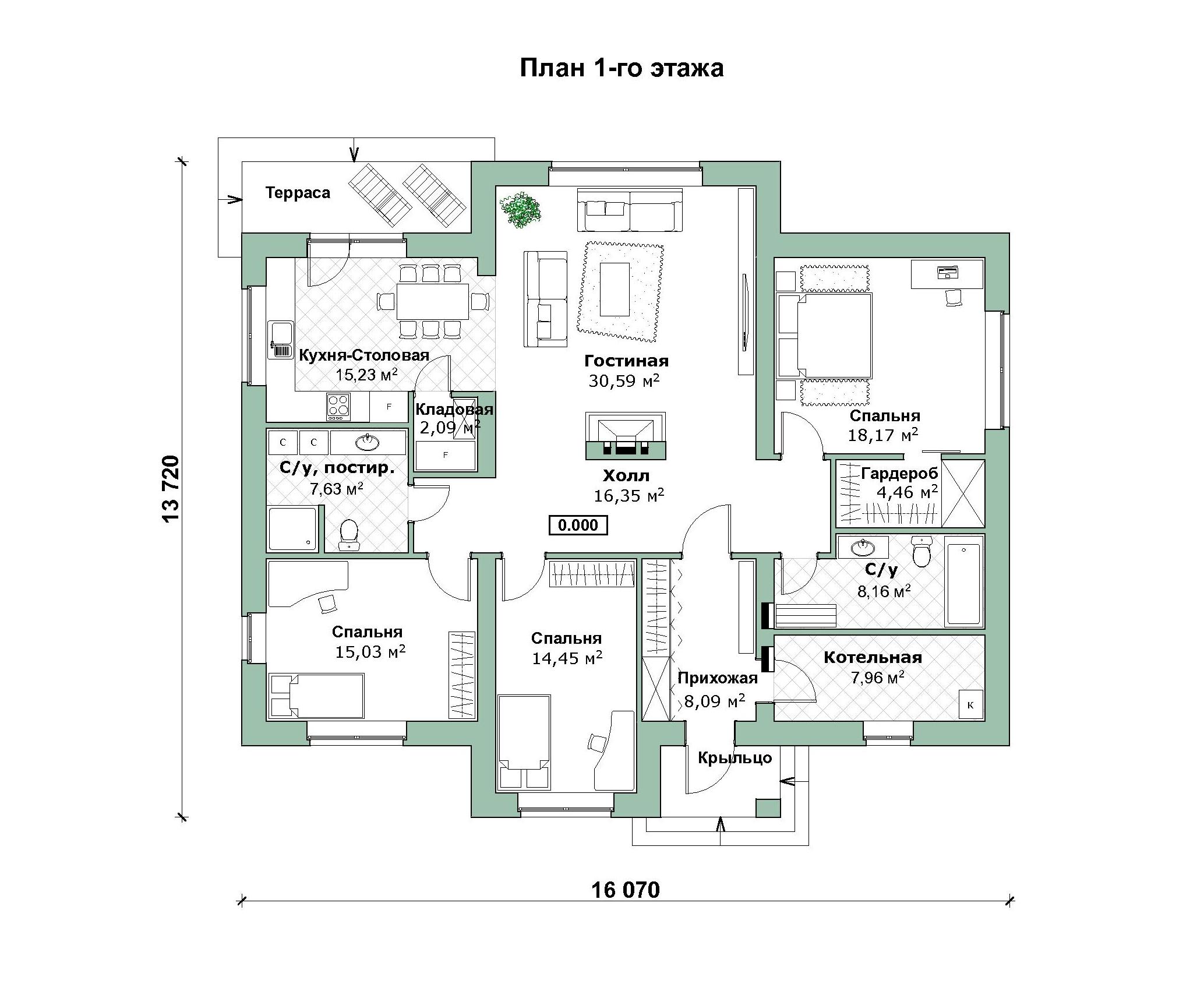 Одноэтажный дом в скандинавском стиле А-07-20/а план