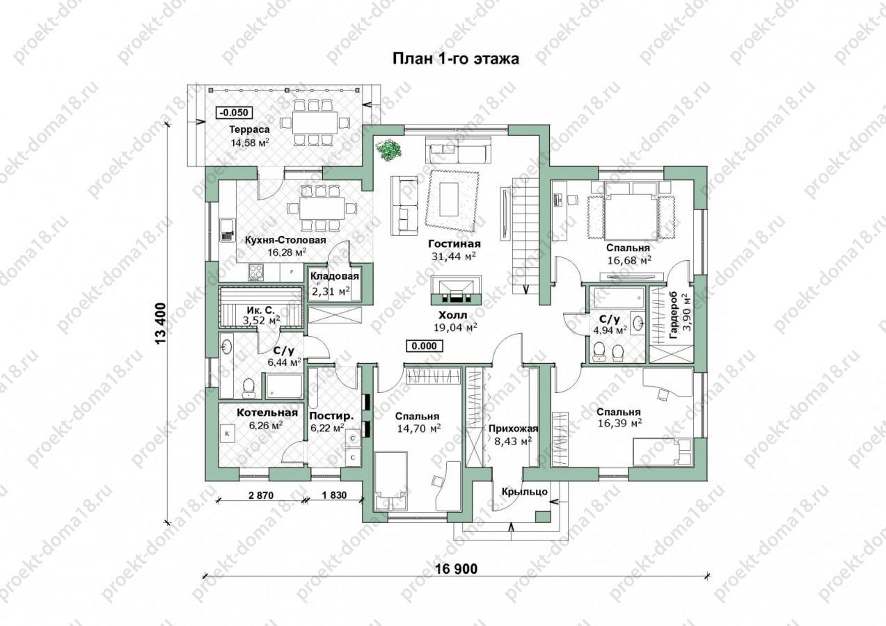 Проект одноэтажного дома А-07-20 план