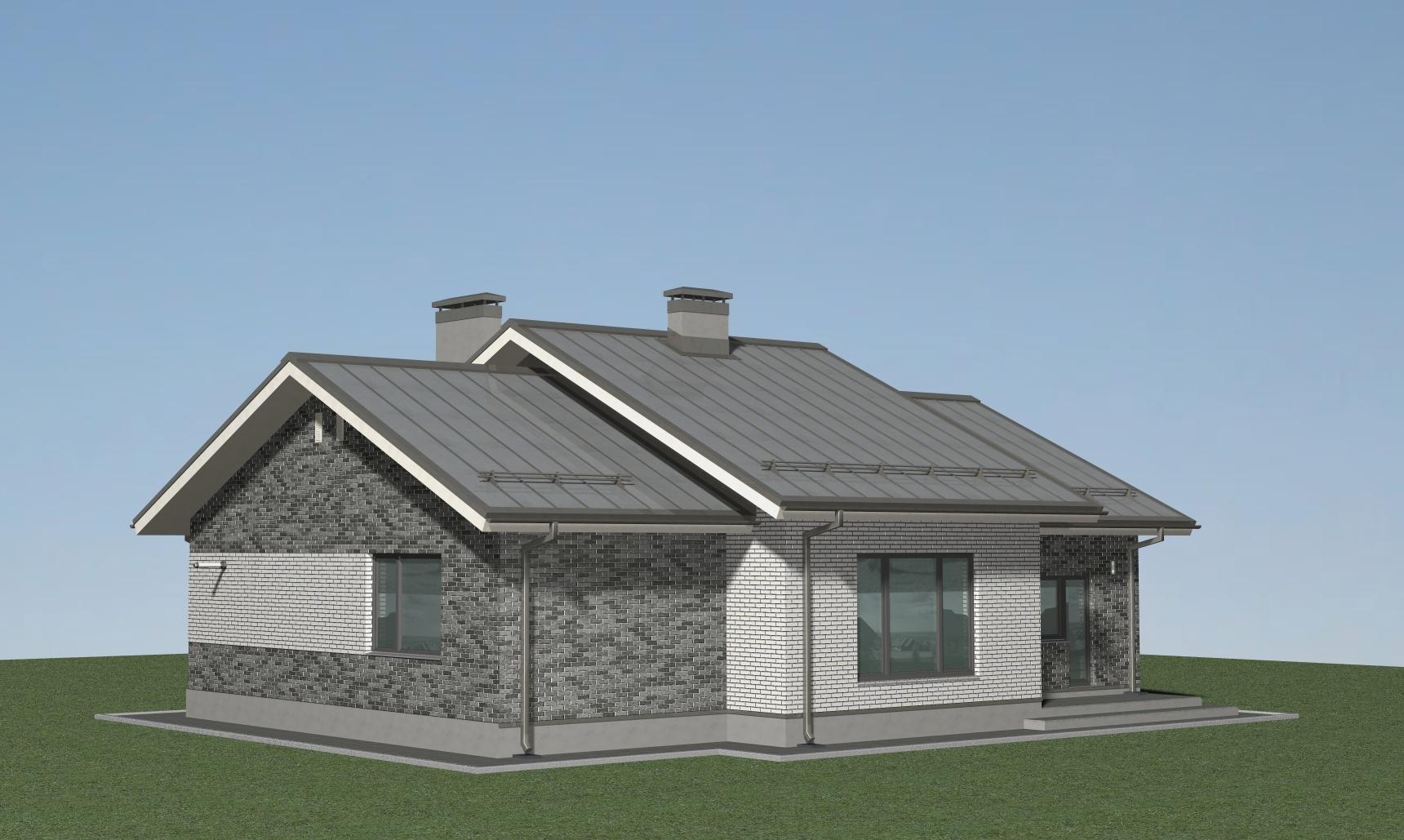Одноэтажный дом в скандинавском стиле А-07-20/а фасад