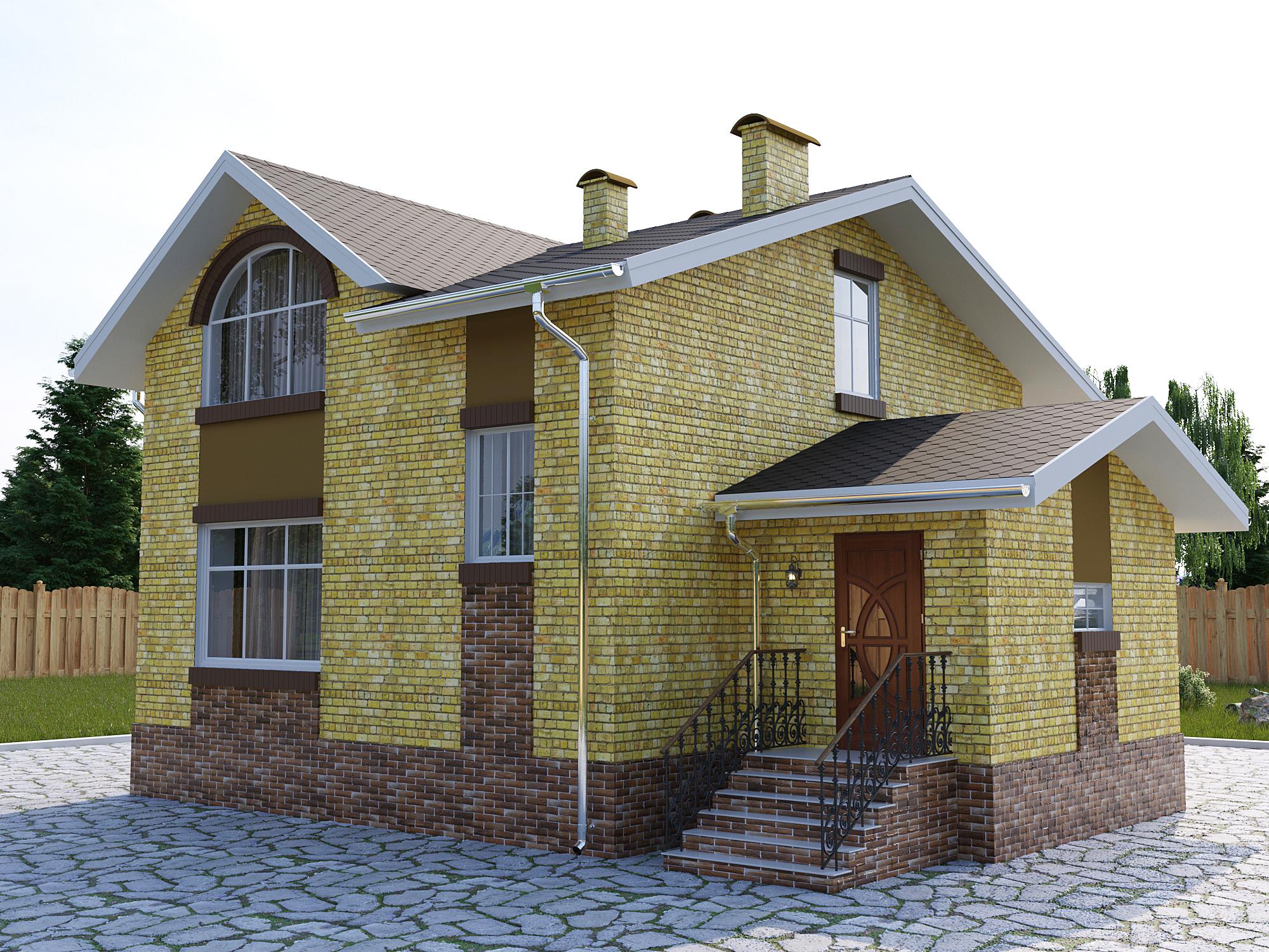 Готовый проект коттеджа 90 кв. м / Артикул DK-49 фасад