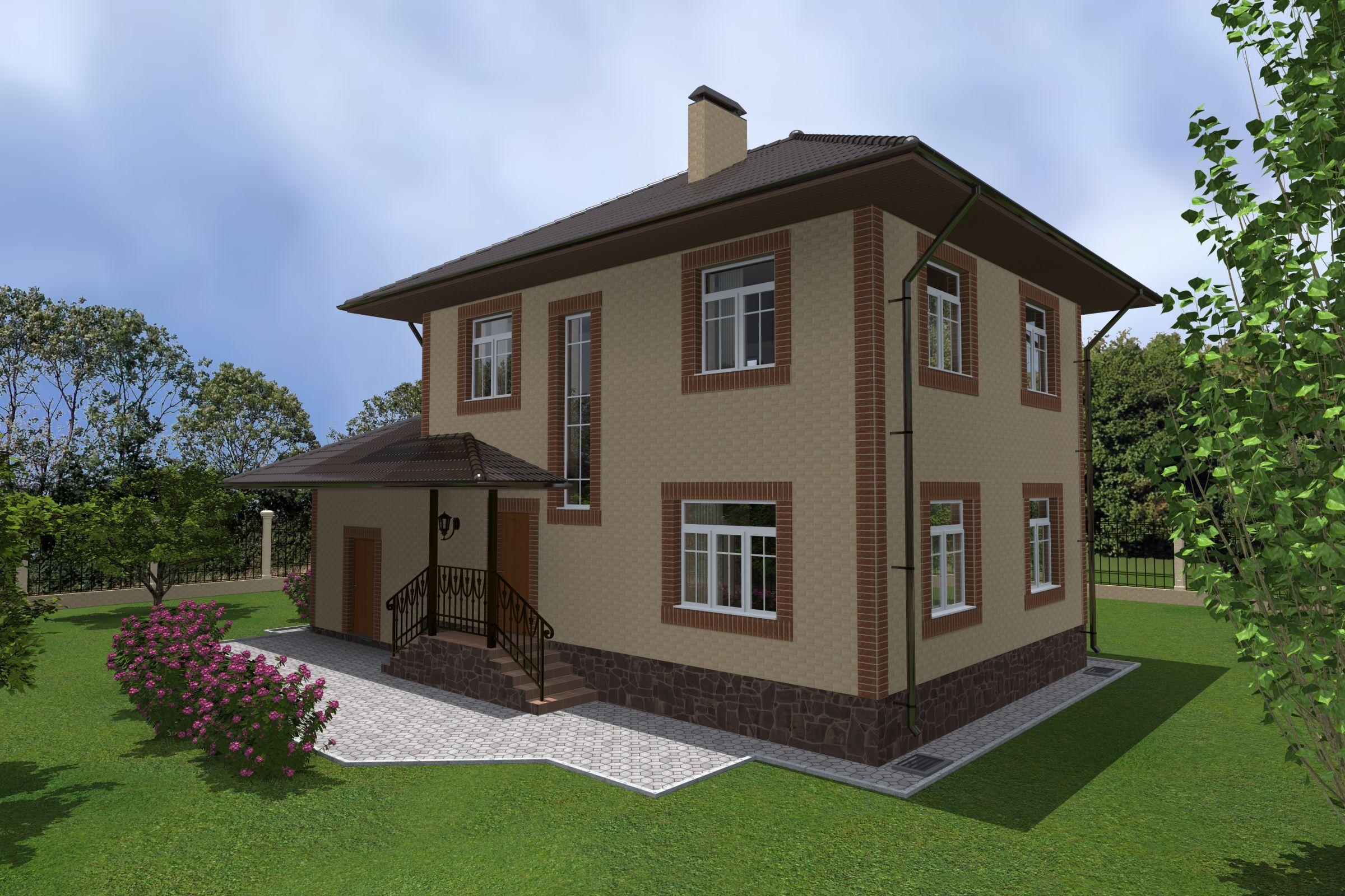 Готовый проект коттеджа 105 м2 / Артикул RA-77 фасад