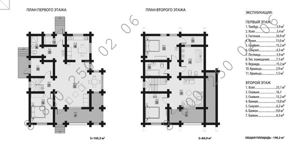 """Рубленый дом """"Эльбрус"""" план"""