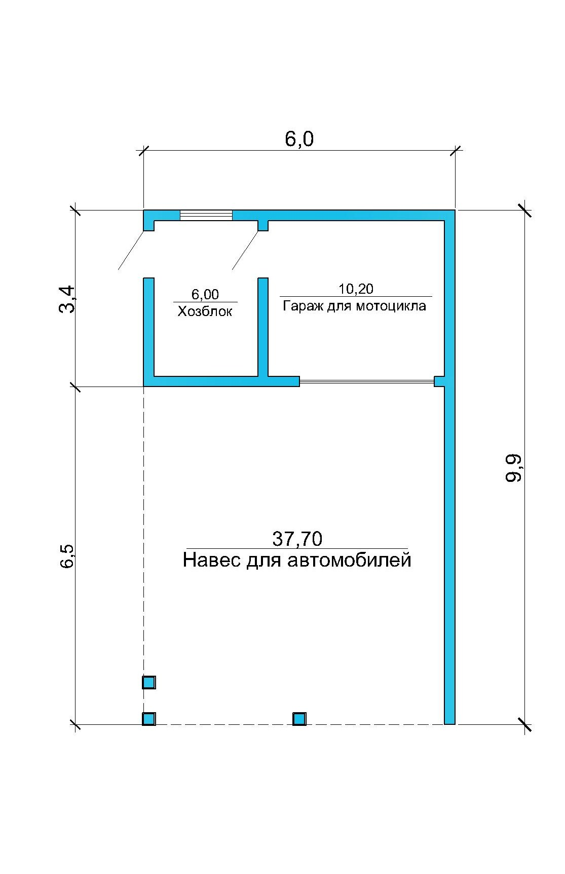 Гараж-навес  55 кв.м // Артикул ПГЕ-150.1 план