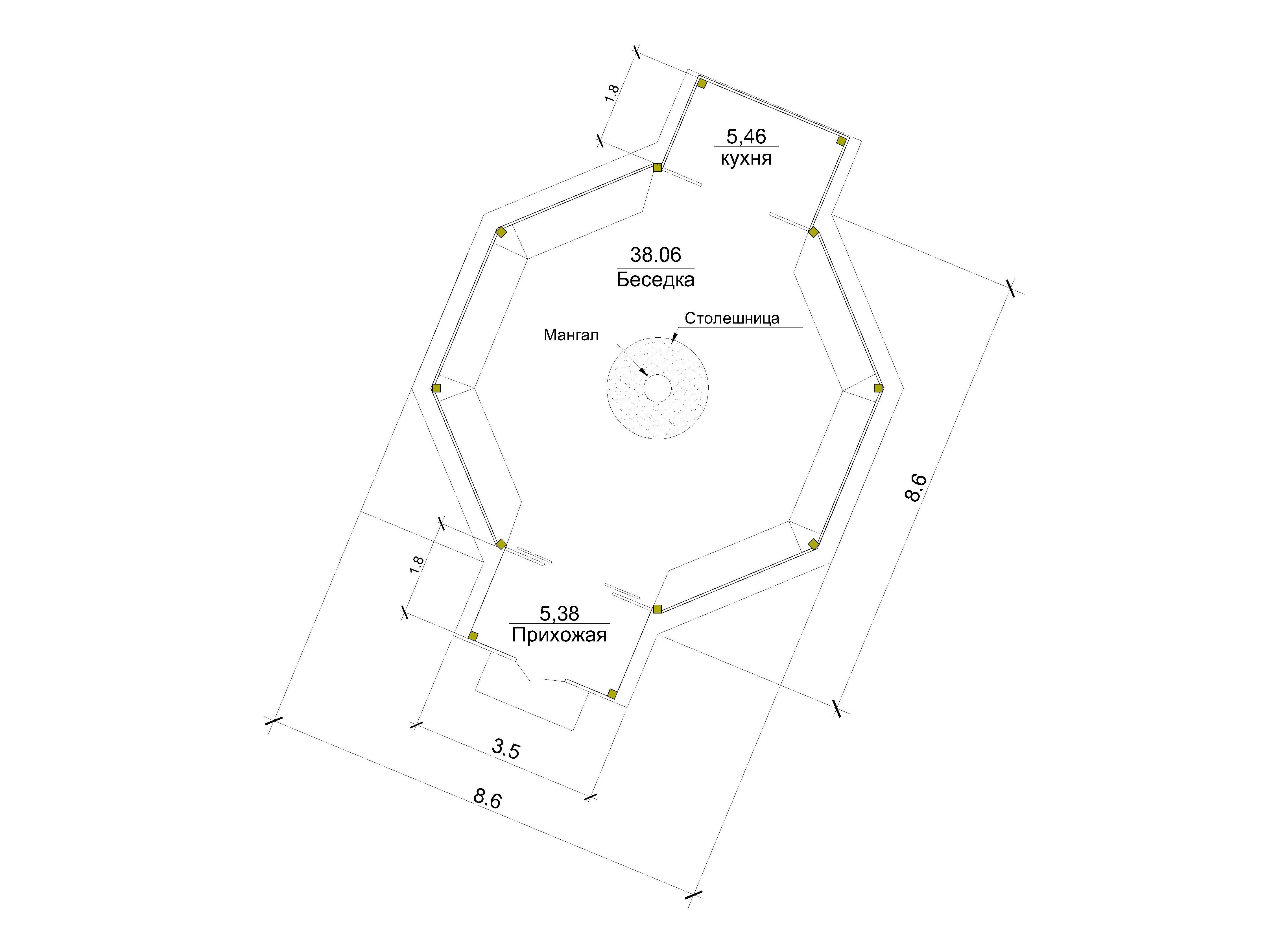 Готовый проект беседки 48 кв.м // Артикул БЗ.М-73 план