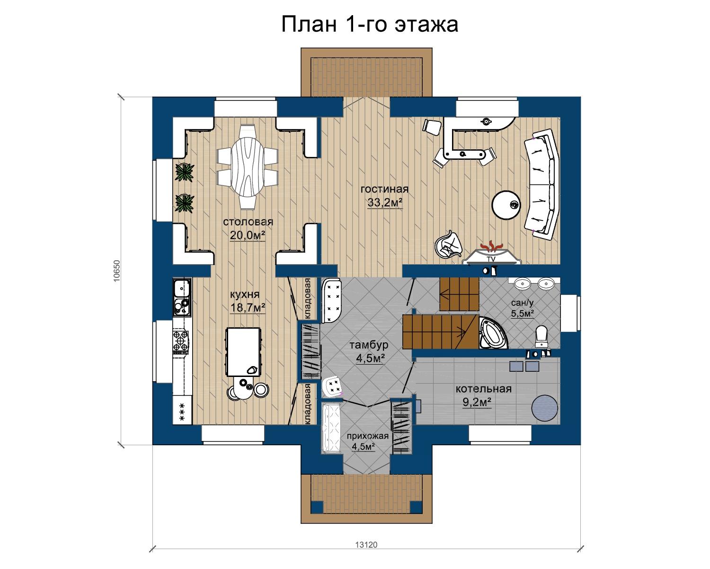 Проект загородного дома 04.18 план