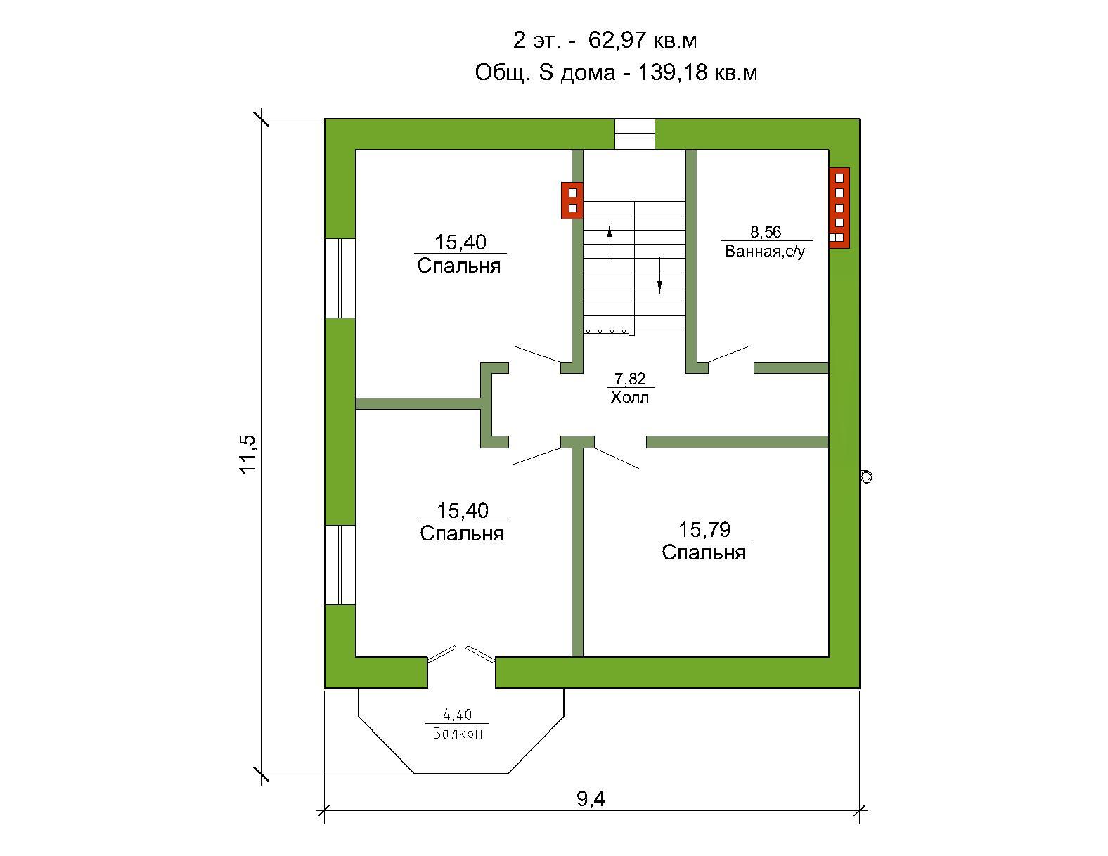 Готовый проект дома 139 кв.м // Артикул ОК-152 план